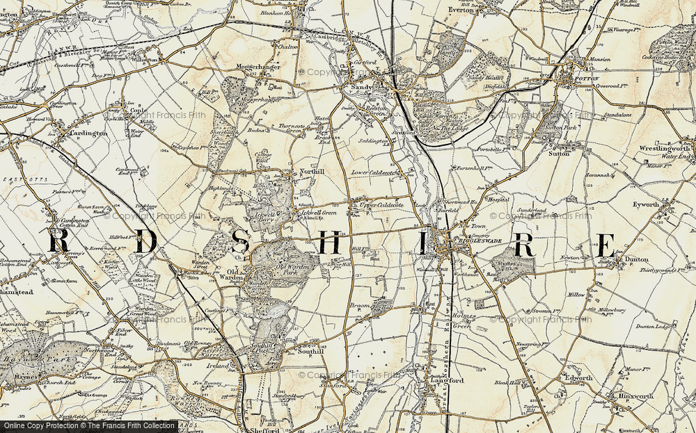 Old Map of Upper Caldecote, 1898-1901 in 1898-1901