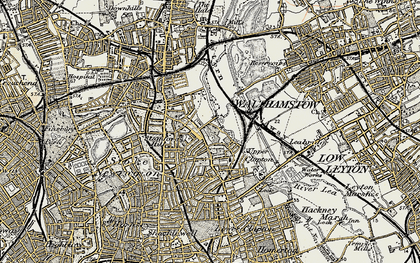 Old map of Upper Clapton in 1897-1898
