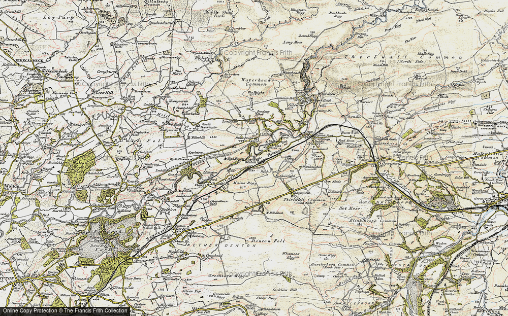 Old Map of Historic Map covering Banna (Roman Fort) in 1901-1904