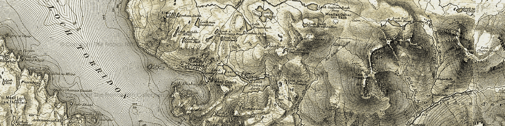 Old map of An Ruadh-Mheallan in 1908-1909