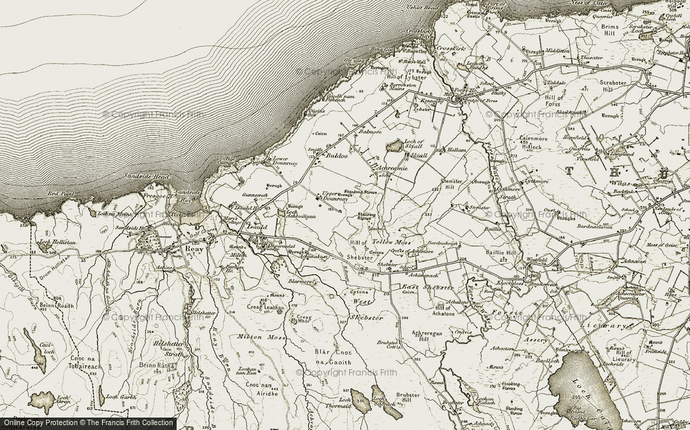 Old Map of Historic Map covering Achunabust in 1911-1912