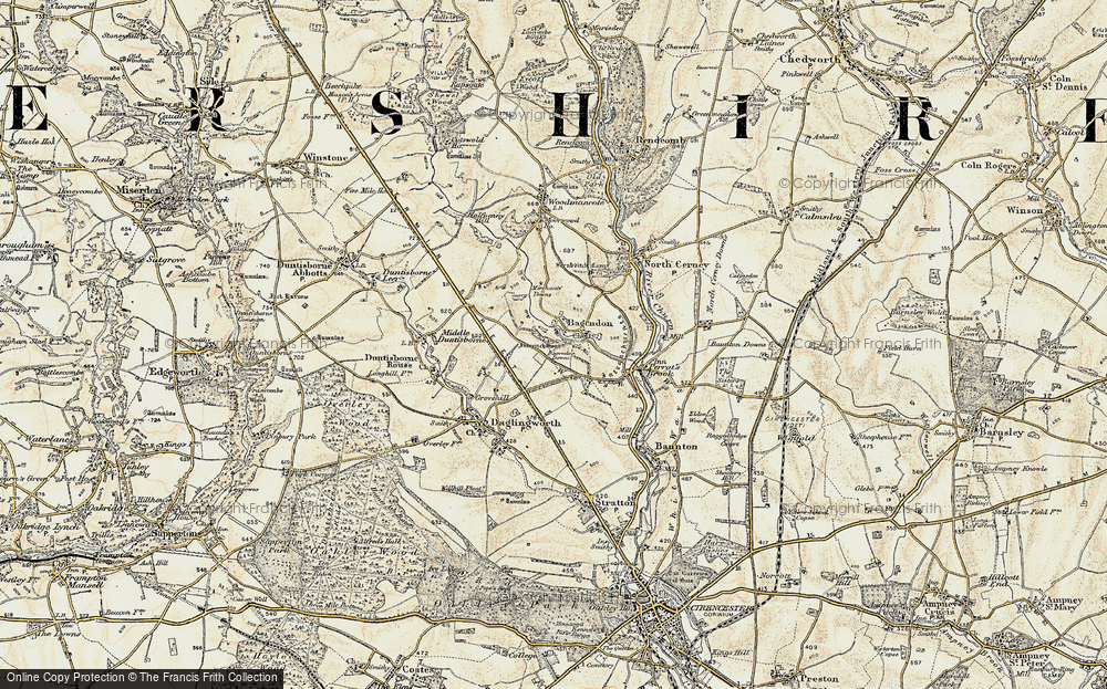 Old Map of Historic Map covering Bagendon Downs in 1898-1899