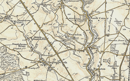Old map of Bagendon Downs in 1898-1899