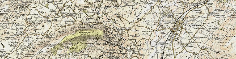 Old map of Upper Hodder in 1903-1904