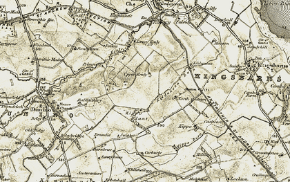 Old map of Airdrie in 1906-1908