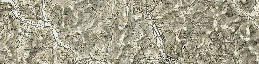 Old map of White Meldon in 1903-1904