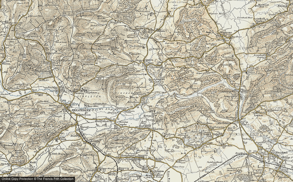 Old Map of Historic Map covering Lingen Vallet Wood in 1900-1903