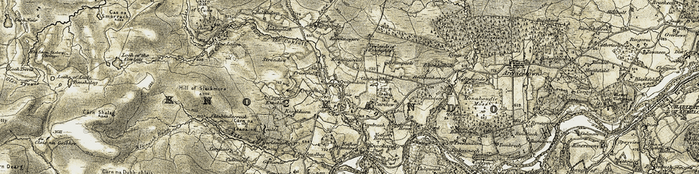 Old map of Allt Arder in 1908-1911