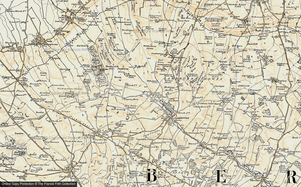 Old Map of Historic Map covering Ashdown Park in 1897-1900