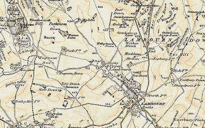 Old map of Whit Coombe in 1897-1900