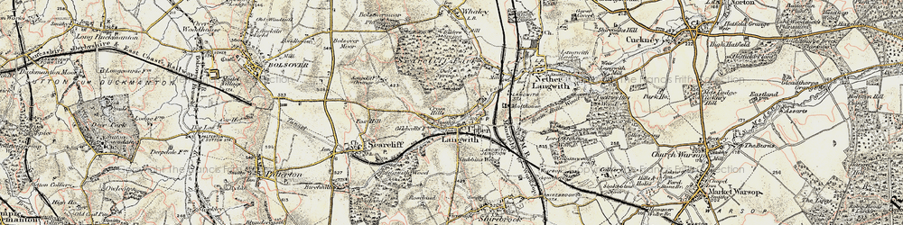 Old map of Upper Langwith in 1902-1903