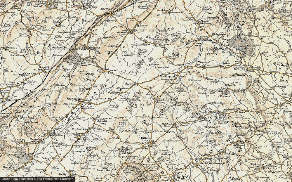 Old Map of Historic Map covering Woolshope in 1902