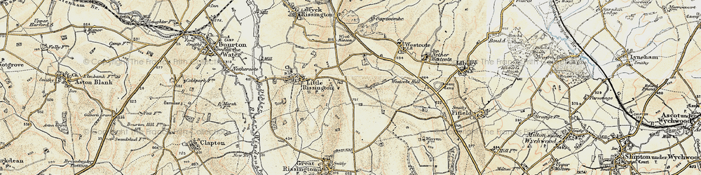 Old map of Westcote Hill in 1898-1899