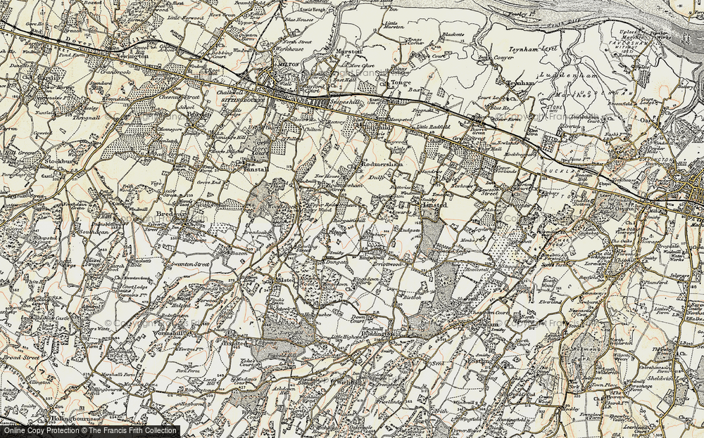 Old Map of Historic Map covering Bargains Hill in 1897-1898