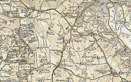 Old map of Yearston Court in 1899-1902