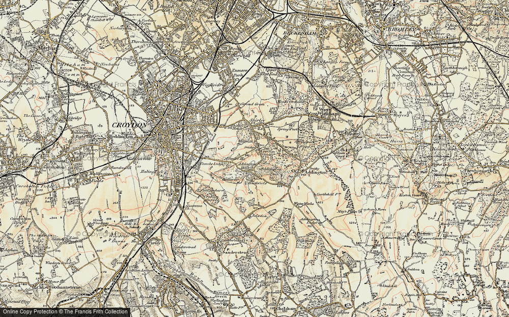 Old Map of Historic Map covering Addington Hills in 1897-1902