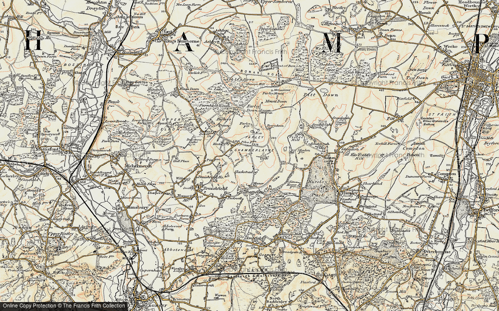 Old Map of Historic Map covering Bailey's Down in 1897-1900