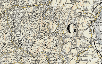 Old map of Upper Soudley in 1899-1900