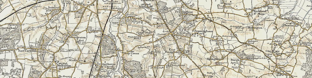 Old map of Whiteford Hall in 1901-1902