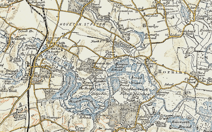 Old map of Wroxham Broad in 1901-1902