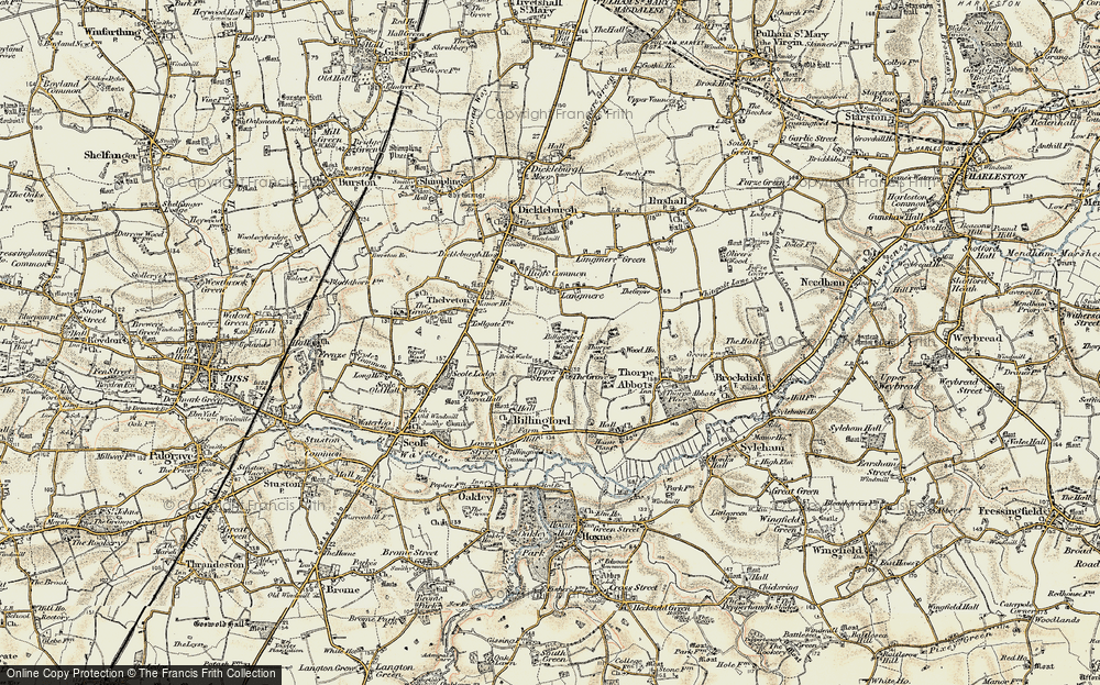 Old Map of Historic Map covering Langmere in 1901-1902