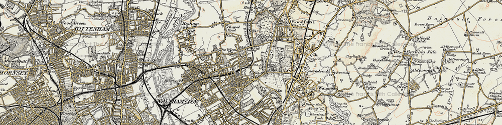 Old map of Whipps Cross Hospl in 1897-1898