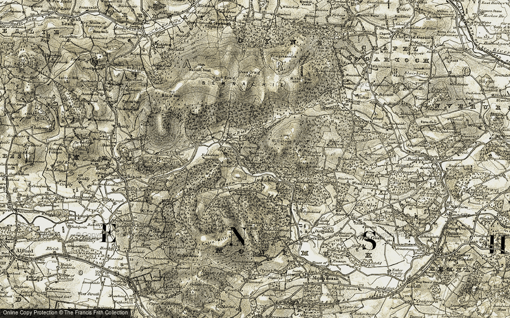 Old Map of Historic Map covering Tillybrack in 1908-1910