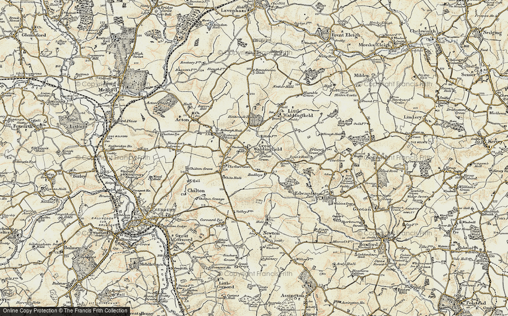 Old Map of Historic Map covering Badleys in 1898-1901