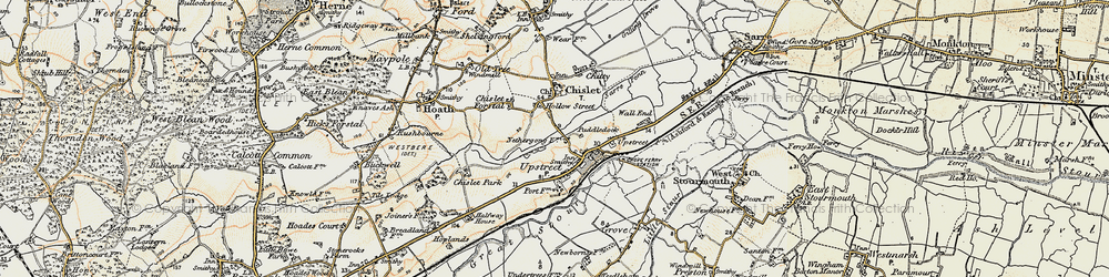 Old map of Upstreet in 1898-1899