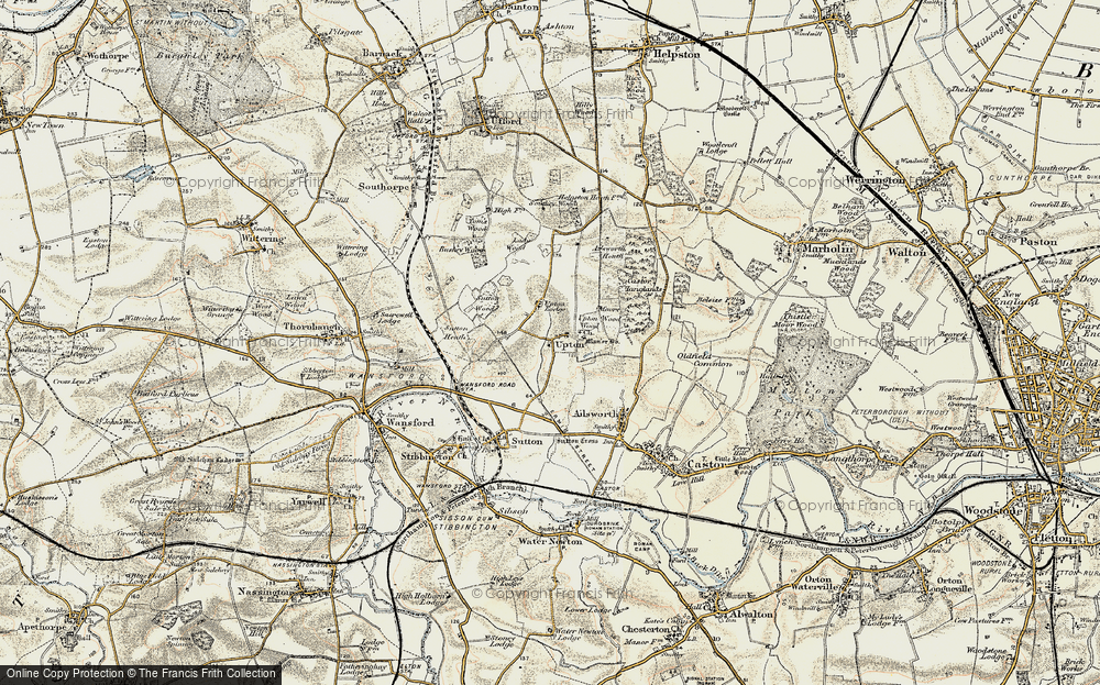 Old Map of Historic Map covering Ailsworth Heath in 1901-1902
