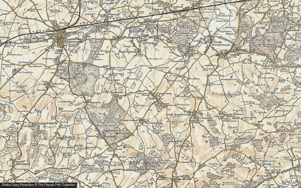 Old Map of Upton Grey, 1900 in 1900