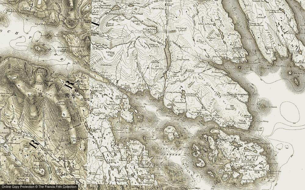 Old Map of Historic Map covering Bàgh Urgha in 1908-1911