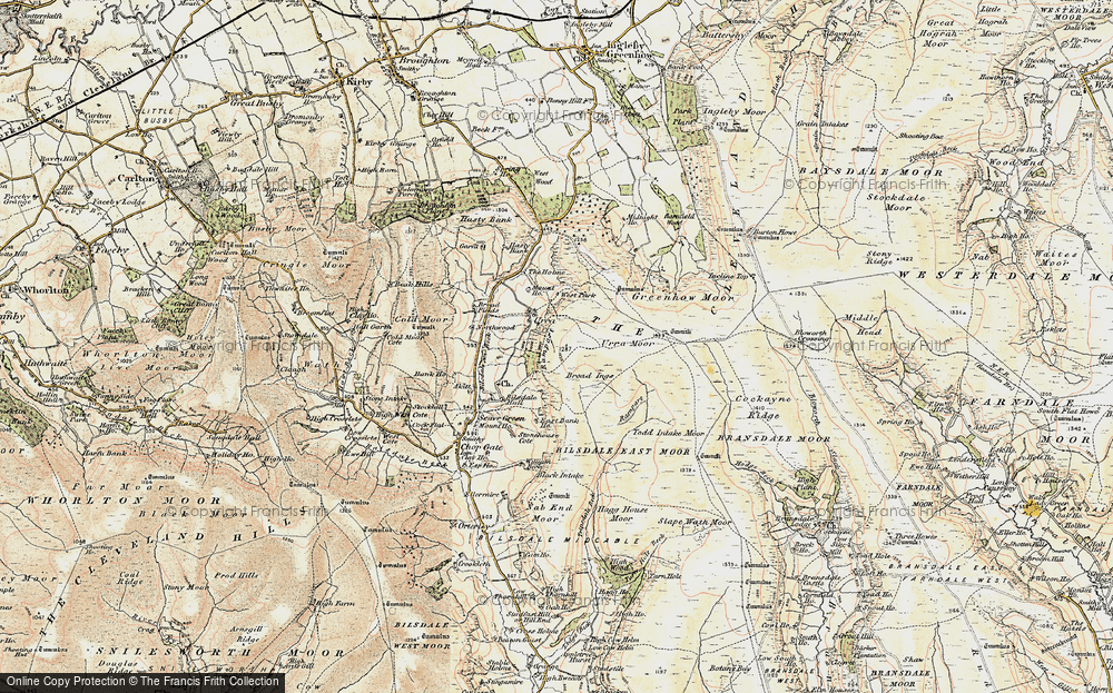 Old Map of Historic Map covering Todd Intake Moor in 1903-1904