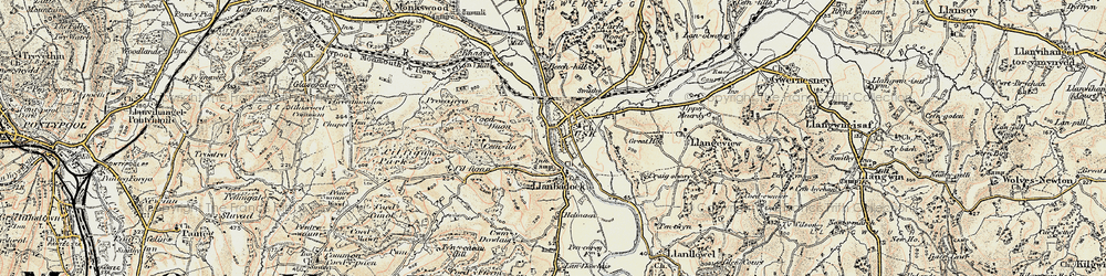 Old map of Usk in 1899-1900
