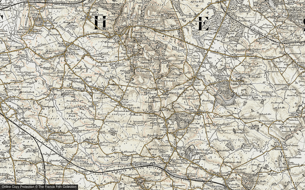 Old Map of Historic Map covering Ash Hill Ho in 1902-1903