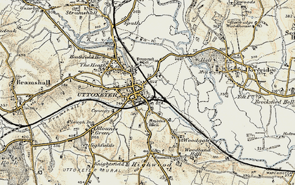 Old map of Uttoxeter in 1902