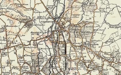 Old map of Uxbridge in 1897-1909