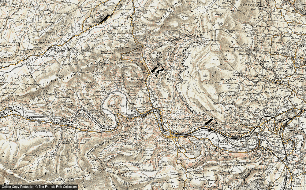 Old Map of Historic Map covering Abbey Cottage in 1902-1903