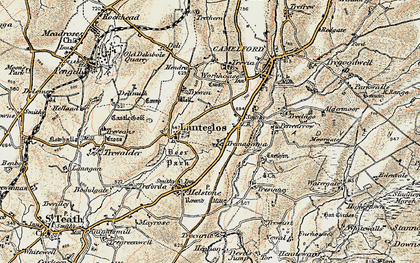 Old map of Valley Truckle in 1900