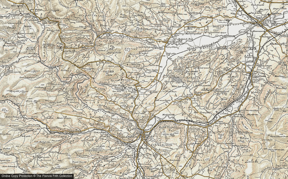 Old Map of Historic Map covering Y Fan in 1902-1903