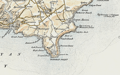 Old map of Vault Beach in 1900