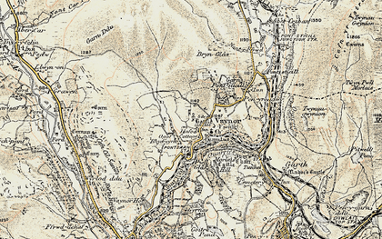Old map of Vaynor in 1900