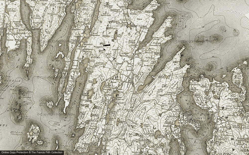 Old Map of Historic Map covering Banks of the Lees in 1911-1912