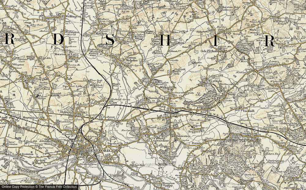 Old Map of Historic Map covering Nunnington in 1899-1901
