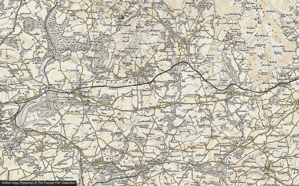 Old Map of Historic Map covering Langage in 1899-1900