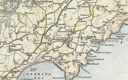 Old map of Veryan in 1900