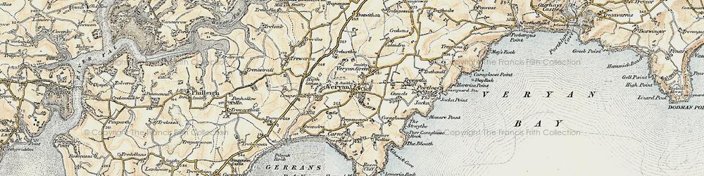 Old map of Veryan in 1900