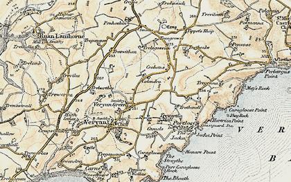 Old map of Veryan Green in 1900