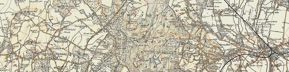 Old map of Windsor Great Park in 1897-1909