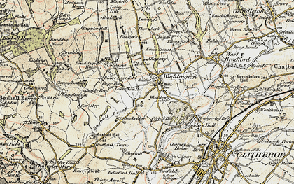 Old map of Waddington in 1903-1904
